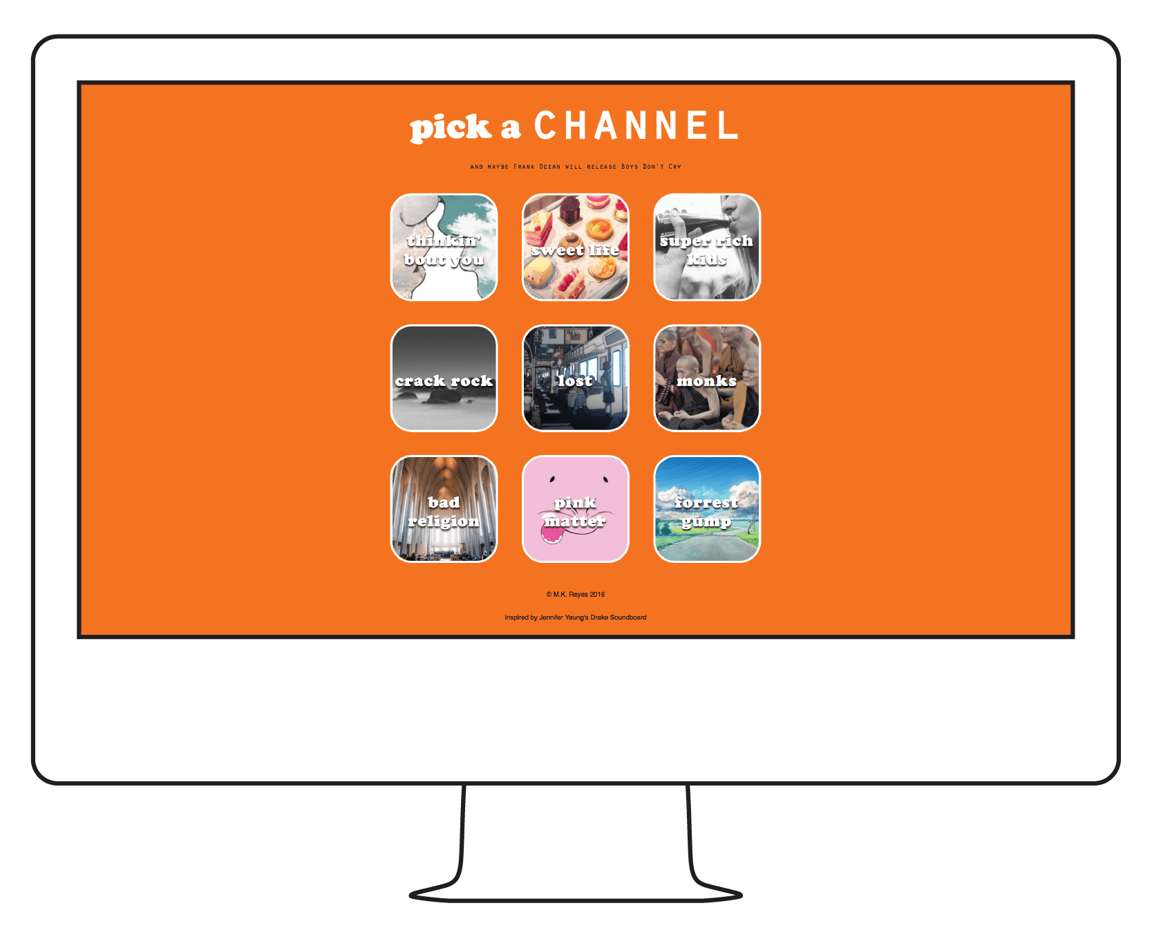Channel O is an interactive soundclip board of Frank Ocean's Channel Orange album.