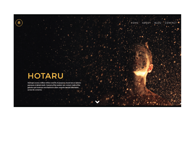 Preview of the landing page for the Hotaru WordPress theme.